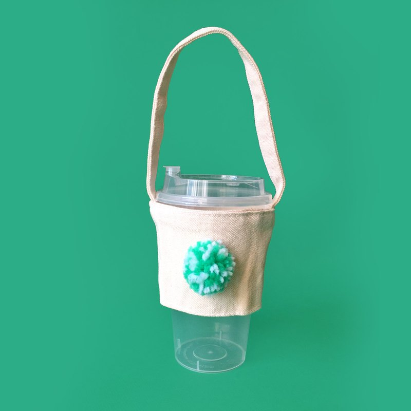 Color pompom rice canvas drink / kettle bag