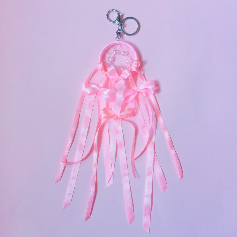 Dream pink bow dream catcher key ring