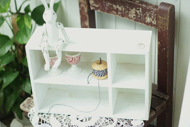 【Good day fetus】 day mixed wood double four white cabinet