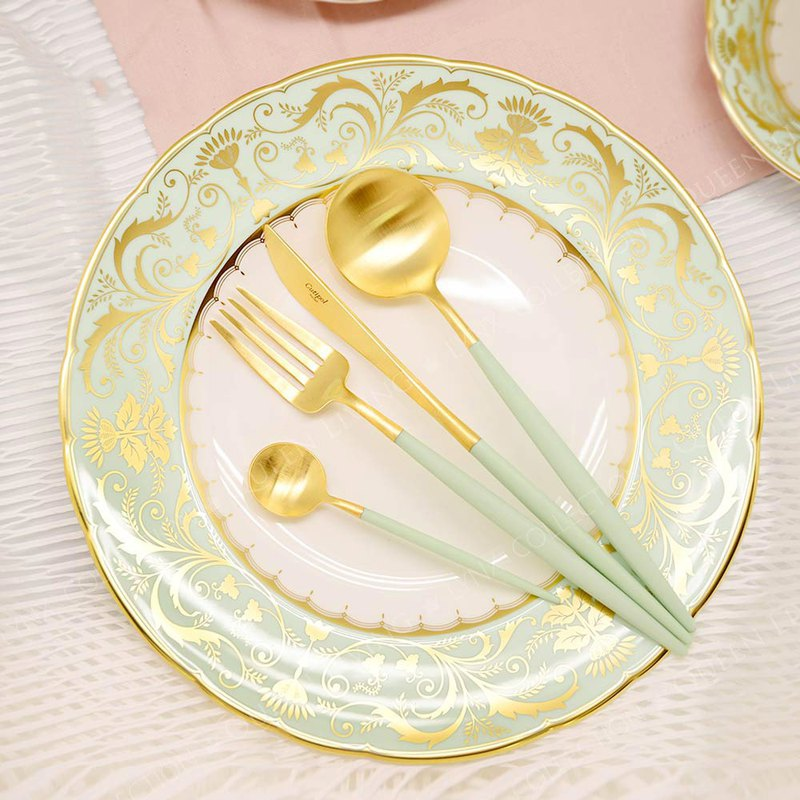 GOA CELADON MATTE GOLD 4 PIECES SET (TABLE KNIFE/FORK/SPOON+COFFEE SPOON)