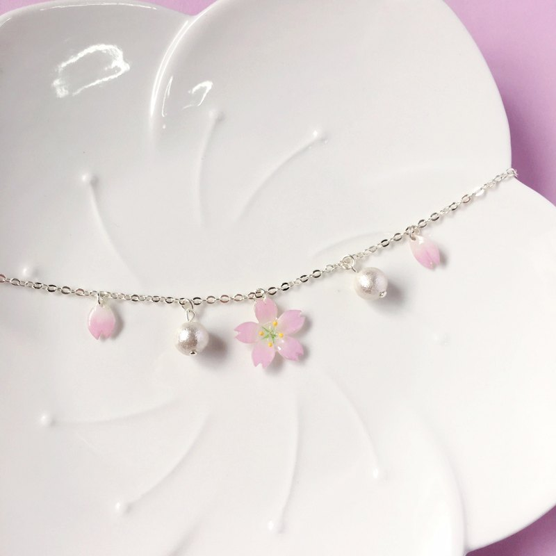 Pink Cherry blossoms hand-painted flower elegant flower petal cotton beads Brace