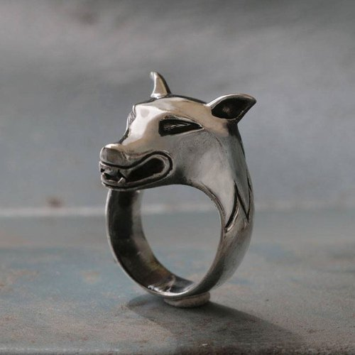 Rings sterling silver skull heavy fox dog warrior Direwolf animal luck men