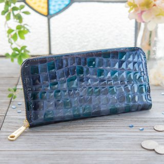 Japanese made cowhide wreath coloring colored glasses made in blue made in JAPAN handmade leather wallet