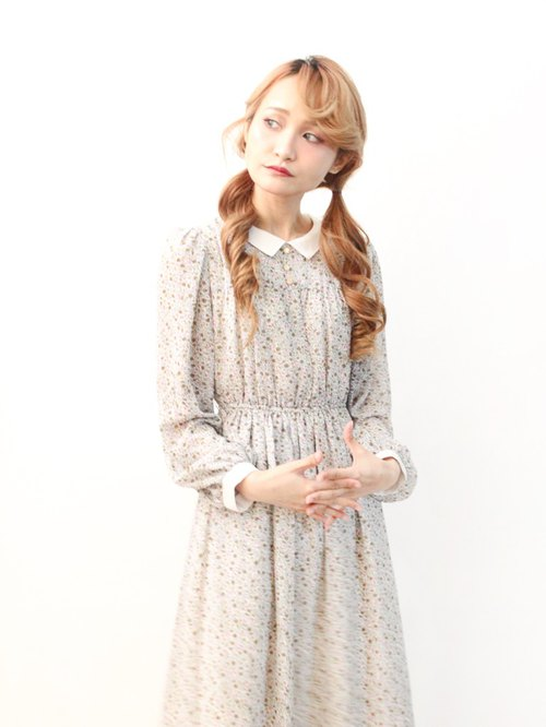 Japanese made retro sweet cute gray floral stitching collar thin long-sleeved vintage dress Vintgae Dress