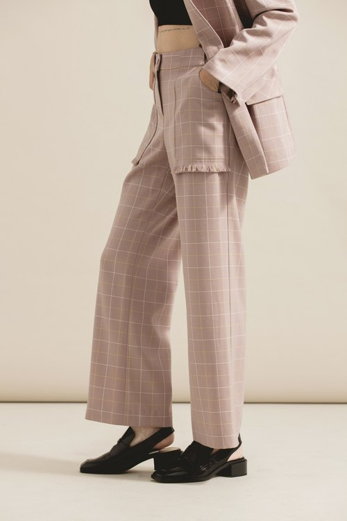 Fine plaid tassel straight pants