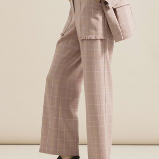 Fine plaid tassel straight wide pants