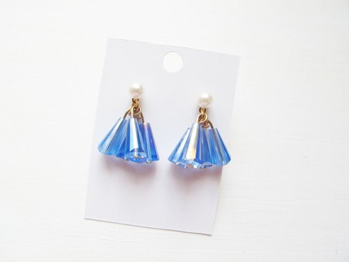 Rosy Garden Blue crystals dress-like shape earrings