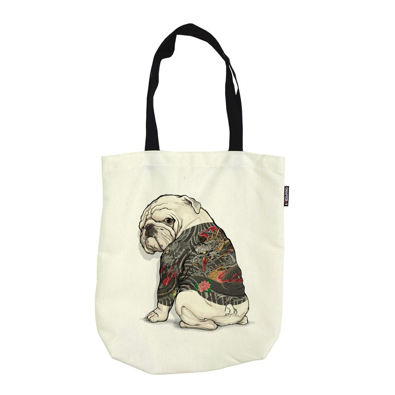 Bulldog tattoo Dragon Foldable shoulder bag Canvas Reduce global warming