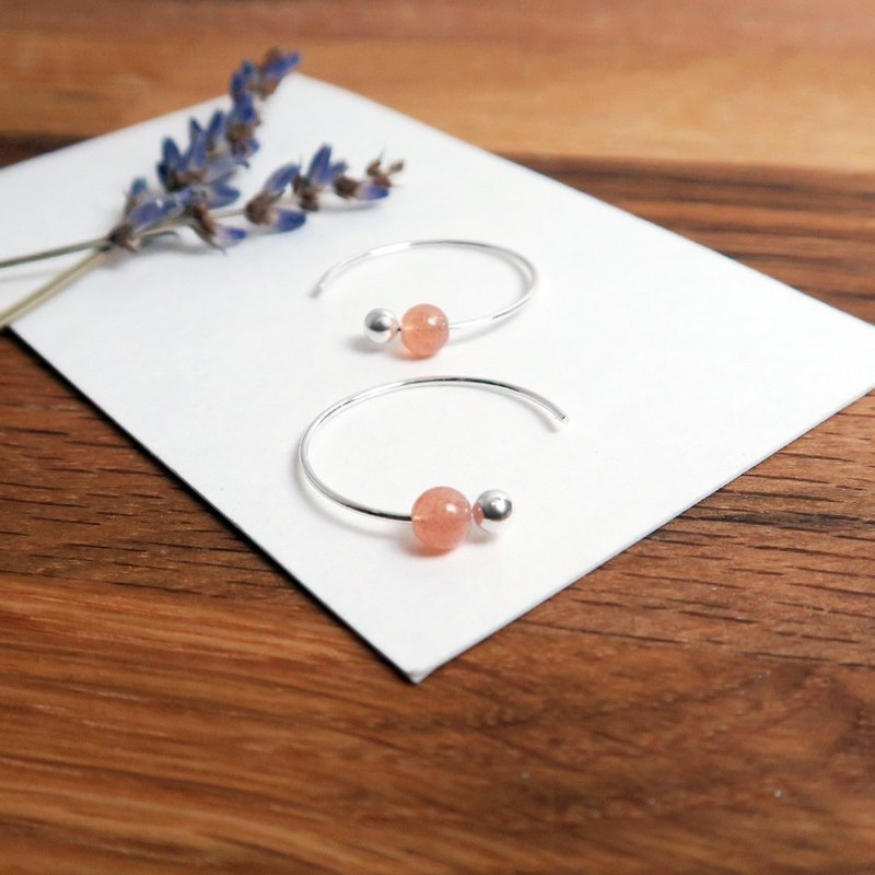 Orange Moonstone Crescent Crescent (Small) - 925 Sterling Silver Natural Stone Ear Pin