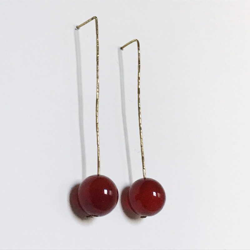 Handmade brass indentation red agate earrings