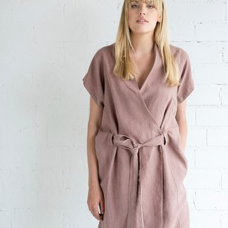 Linen Dress Motumo – 17S6 / Handmade loose linen summer dress