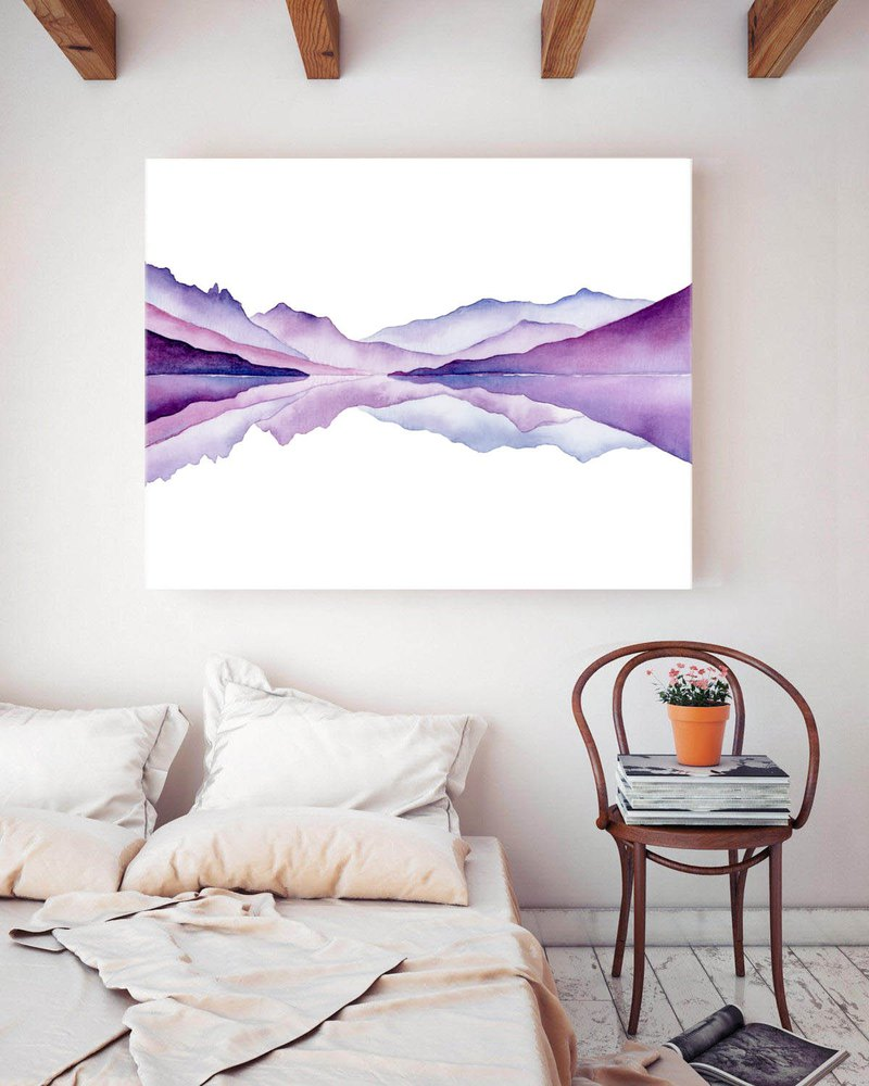 【Mountains】Violet Hills Abstract Landscape | Minimalist Watercolor Wall Art