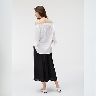 Mercerized Cotton Canopy Sleeve Top - White