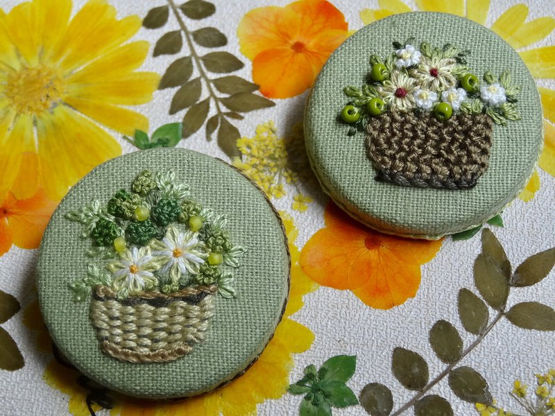 Embroidery Brooch/ Flower fruit/yellow/green