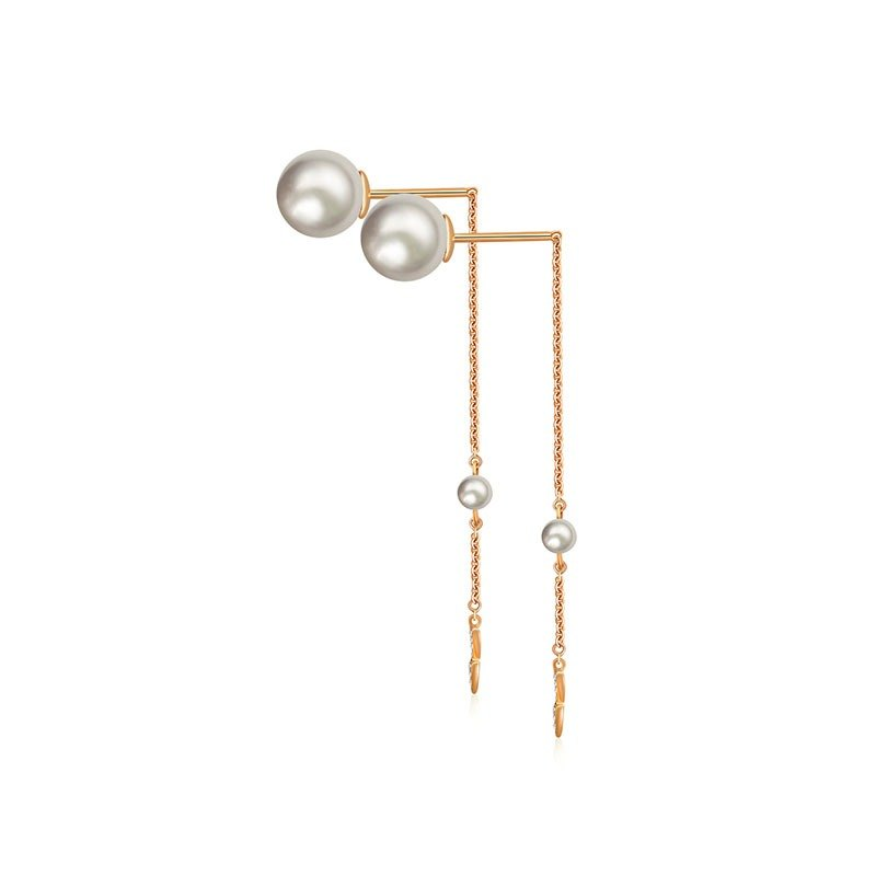 Double Arrow Chain Diamond Earring With Pearl