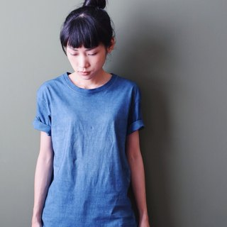 OMAKE Natural Blue Dyed Short Cotton Tee Washed Blue