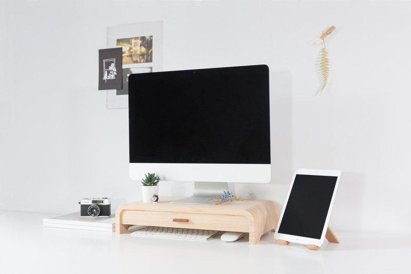 WOOLI 小清新螢幕架- 弧面抽屜款 - 白橡木 客製化