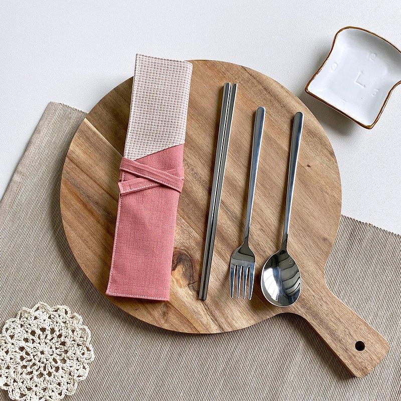 桃粉格紋  環保餐具組 吸管組 餐具袋 餐具套  客製化繡字