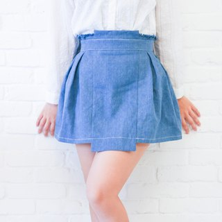 Xu Mu: ChuChu washed blue box pleated denim skirt