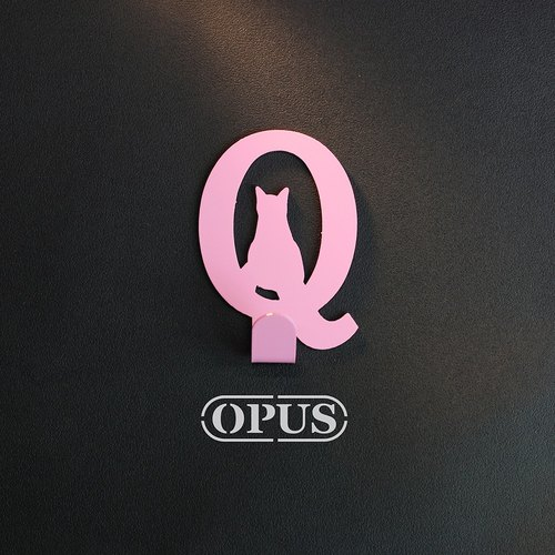 When the cat comes with the letter Q - hanging hook (pink) / wall ornaments hook / furniture rack / living storage / racks / shape hook / no trace / HO-ca10-Q (P)