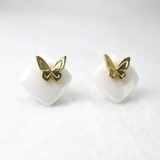 READ Dazzling Pure | 18K Gold Earrings White Butterfly Quality Handmade