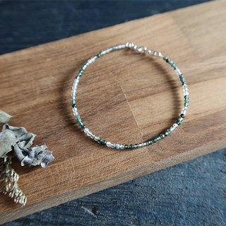 Natural stone Bracelet Water grass stone 925 sterling silver