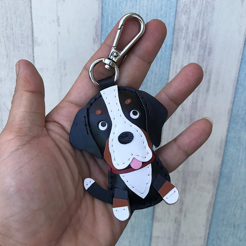 Healing small things black cute St. Bernard dog hand-stitched leather keychain small size