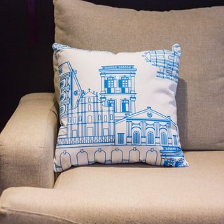 Blue and white building in Macau square pillow Cushion