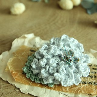 Hydrangea Corsage Brooch pin with crystal butterfly---Light Blue