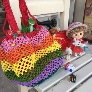 Hand-woven rainbow paper bag