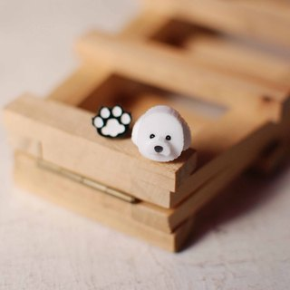 Bichon dog / anti-allergic steel needle / clip-on type
