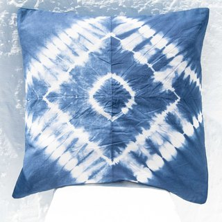 Blue dyed pillowcase / cotton pillowcase / printed pillowcase / indigo blue dyed pillowcase - blue dyed forest