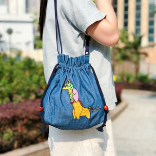 Embroidered Denim Drawstring Across-body Bag - Hold The Giraffe Tightly