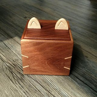 Cat shape walnut small storage box