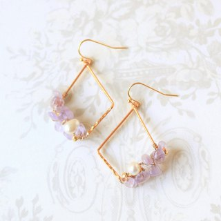 Amethyst and pearl wire wrapped dangle earrings - 18k gold plated earrings