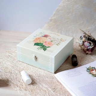 Romantic lace embroidered mahogany wood oil box 25 grid 15ml dip pencil case essential oil wooden box
