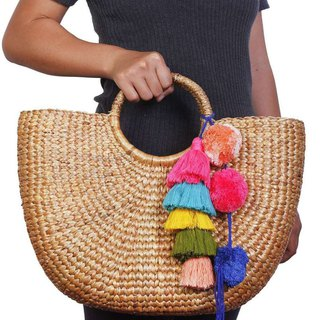 FAIR TRADE NATURAL RATTAN BASKET WATER HYACINTH LARGE BASKET WITH TASSEL