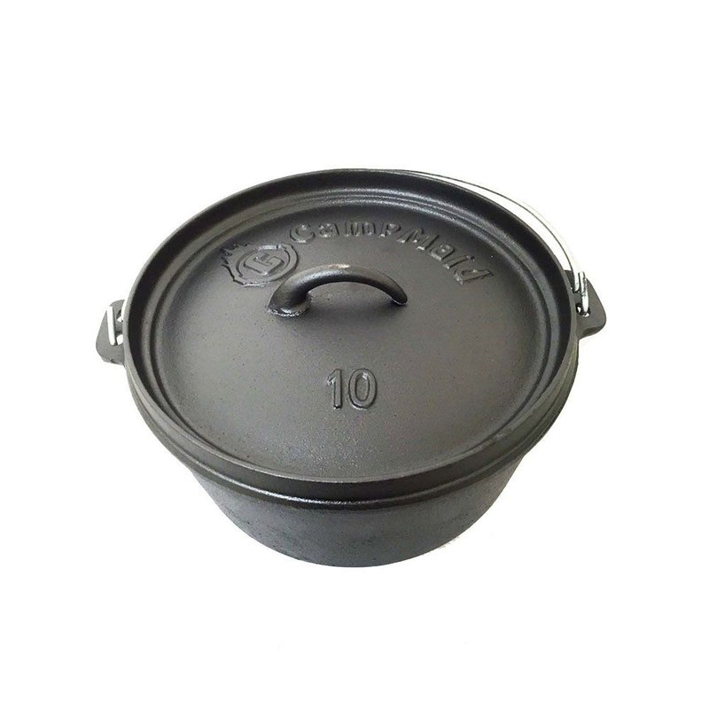 [Mid-year Promotion] CampMaid Dutch Oven Flat Bottom / Foot 10 inch Cast Iron Pot