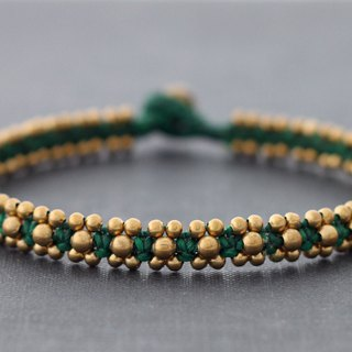 Ethnic Boho Anklets, Green Brass Woven Tribal Anklets, Braided Gypsy Ankle Bracelets