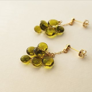 cluster of colours pierced or clip-on earring <olive green>