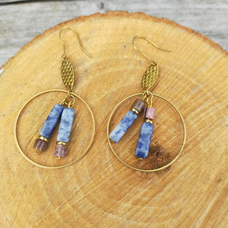 Write a poem for you asymmetric semi-precious stone earrings II blue dot stone, agate can be changed ear clip ear hook