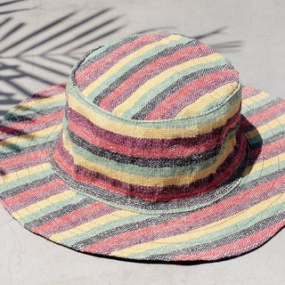 Ethnic hand-woven stitching cotton cap / knitted hat / hat / visor / hat - Tropical colored stripes (limit one)