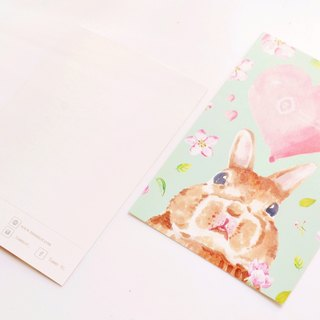 Lovely stay fat rabbit green lake affection postcard