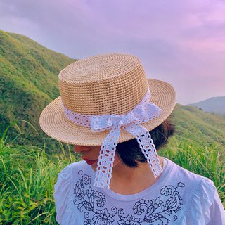 Lena Lena hand-woven straw hat cotton white lace cream grass chokdee-muakdeedee|