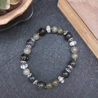 Bracelet. Green hair crystal*grape jade*obsidian * pure silver septum neutral wild bracelet