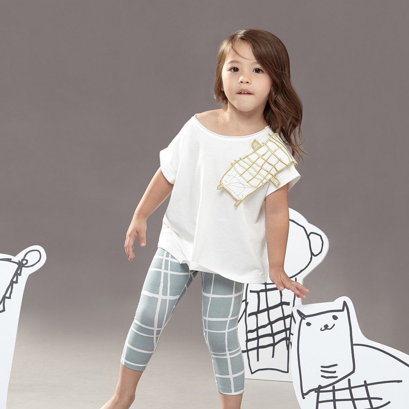 Comoyo-Lattice Animal Series-Rhino Top (White/Gray)