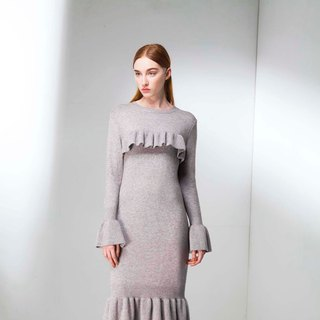 Knitted flounced fish tail dress