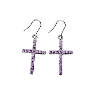 Brilliant cross - mysterious purple pure titanium earrings a pair