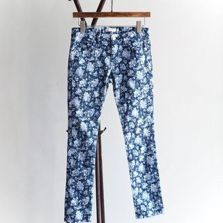 River Hill - deep blue-flowers love season cotton denim low waist straight narrow trousers antique vintage denim pants vintage