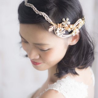 Swarovski Elements production. Pearl braid hairdresser hoop headdress / Bridal Fa ornaments